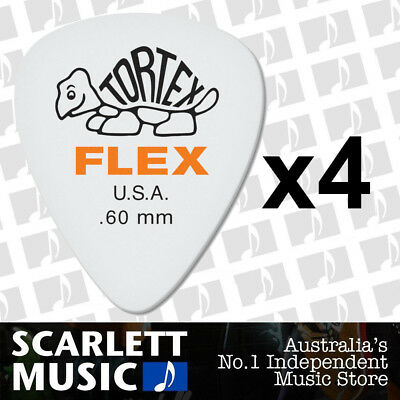 4 x Jim Dunlop Tortex FLEX 0.60MM Gauge Guitar Picks *NEW* Plectrums
