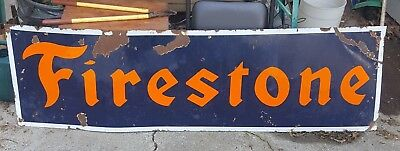 Vintage Original Firestone Enamel Tire sign Lg.6 foot- 72 in. By 21 in.1930s USA