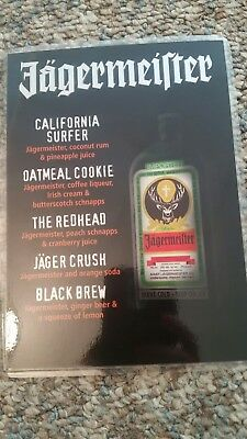 Jagermeister Laminated Drink Card Jager Bomb Barrel Mary Vacation Redhead Blonde