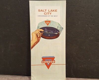 1962 Vtg Road Map Conoco Gas Oil Salt Lake City Cross Roads Of The West