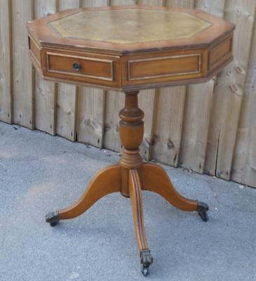 Lovely Yew Wood Leather Topped Octagonal Drum Table with Two Drawers 60x50cm