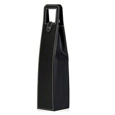 (Black) - Leather Single Bottle Wine Carrier Box (Black). WFD.L. Free Shipping