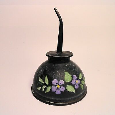 Awesome hand painted Violets on a vintage Oil Can great Country Decor SIGNED!