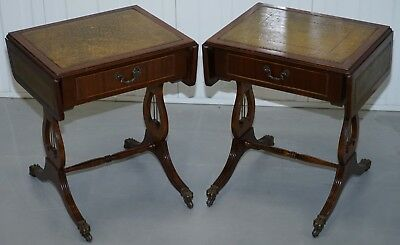 Pair Of Regency Style Green Leather, Mahogany Extending Lamp Wine Side End Table