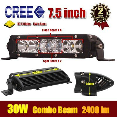 "7.5"" 30W CREE LED Work Light Bar Flood Spot Combo Beam Off Road Jeep SUV Carine"