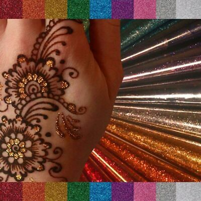 Golecha Glitter Henna Cones Red Colour Instant Mehndi Cone Tattoo Art Halal
