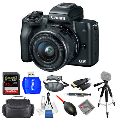 Canon EOS M50 Mirrorless Camera with 15-45mm Lens (Black) USA Model Pro Kit New