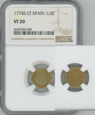 SPAIN 1774-S gold 1/2 Escudo  Charles III  NGC VF20