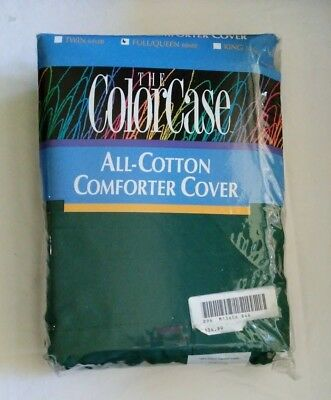 NEW Vintage The ColorCase Israel Cotton Comforter Cover Full Queen Hunter Green