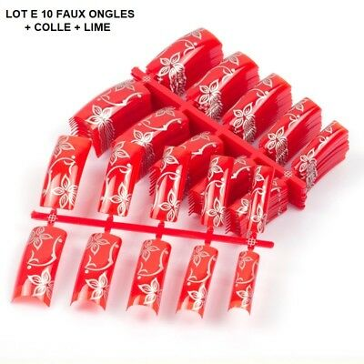 Lot 10 Capsules Tips Faux Ongle Gel Uv Vernis Rouge Fleur Colle Lime Ong603