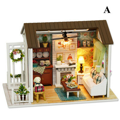 DIY Doll House Miniature Kit Dolls Toy House W/Furniture Room LED Handcraft Gift