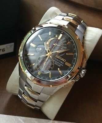 Seiko Coutura Solar SSC376 Watch Perpetual Date Day Alarm Power Reserve   495 WR 7c98af855e19