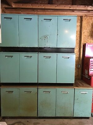 GE General Electric Vintage Storage Kitchen Cabinets Aqua Metal 50s Retro Chrome