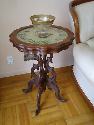 Antique Round Carved Inlay Painted and Pearl Wood W/Glass End Coffee Table
