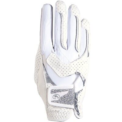 (white-silver, 7) - Roeckl LARA Gloves with CRYSTAL Fabric - Choose Colour &