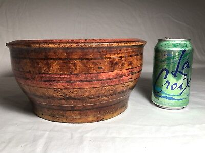 "Antique Primitive Treenware Hand Painted Solid Turned Wood Bowl 9.25"" Diameter"