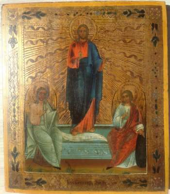 """Antique 19c Russian Orthodox Hand Painted Wood Icon """"the resurrection of Chris"""""""