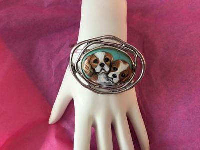 Cavalier King Charles Puppies Hand Painted Bracelet