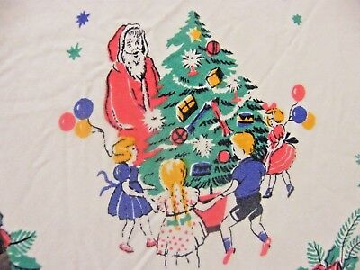 "Vintage Original 50s 60s Tablecloth Christmas Santa Clause Xmas Tree 31"" x 33"""