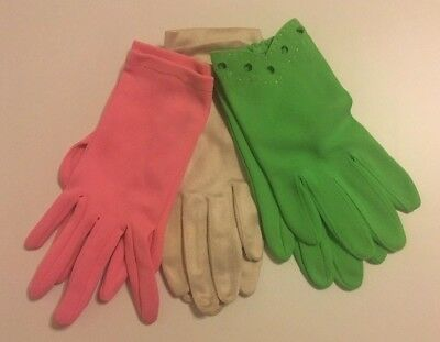 Vintage Gaymode Girls Gloves for Dance, Pageant Costume NIB Pink Green Tan Lot 3