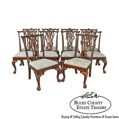 Chippendale Style Set of 10 Mahogany Ball & Claw Carved Dining Chairs by Drexel