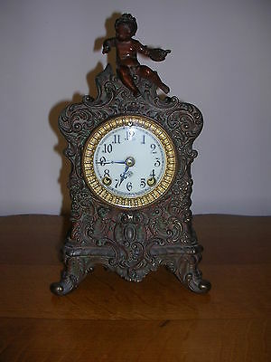 Antique Bronze Ansonia Clock With Cherub And Beveled Glass Face Made In Usa