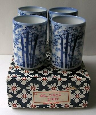 Japanese White w Blue Bamboo Porcelain Tea Cups Made In Japan w Orig Box