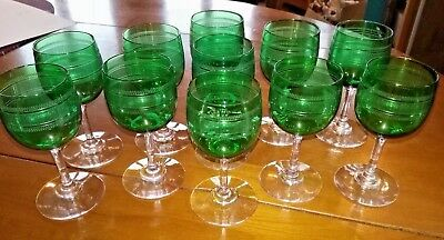 antique french set 11 green crystal SAINT LOUIS port wine glasses 1920 engraved