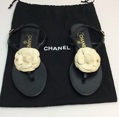 6a78aa47893 CHANEL CAMELLIA FLOWER Thong sandals Size 36 Leather -  398.60 ...