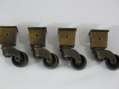Lot of 4 Vintage Brass Swivel Wheel Square Cup Furniture Casters