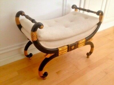 Baker Furniture Neoclassical Regency Decorated And Gilded Bench