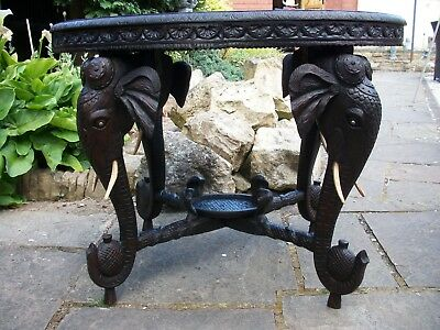 Xx Large Oval  Antique Rosewood Anglo/ Indian  Table With 4 Elephant Head Legs