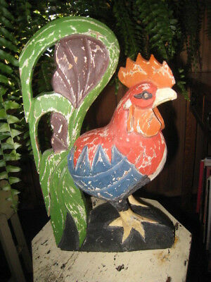 Primitive Folk Art Carved Wood Chicken Rooster Rustic Country REDUCED!