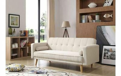 Danish 3 Seater Sofa Bed Modern Fabric Seat Retro Couch Room Scandinavian Legs