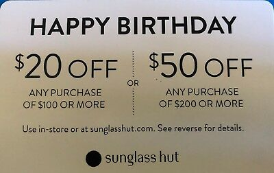 5158f05ac6 SUNGLASS HUT 20  off  100 or  50 off  200 Expiration 8 5 2018 ...