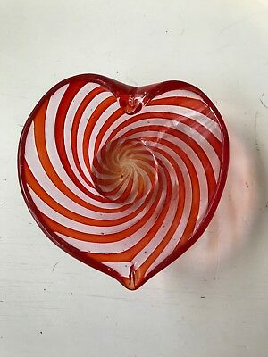 Art Glass/Heart Shaped Dish/Clear/W/Red/Green Design/Display Plate/Candy Bowl