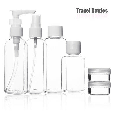 9pc Holiday Travel Bottles Set 100ml Clear Pots Airport Liquid Lotion Containers