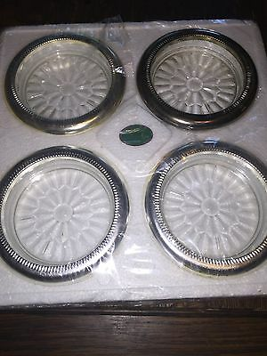 Vintage Silver Plate And Glass Coasters By Sheratonn, Italy