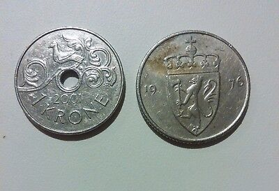 Norway 2 different coins lot 50 Ore 1976 + 1 Krone 2001