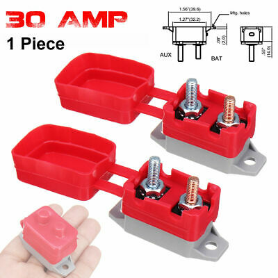 30A AMP 12V Circuit Breaker & PVC Cover Dual Battery Fuse Automatic Auto Reset