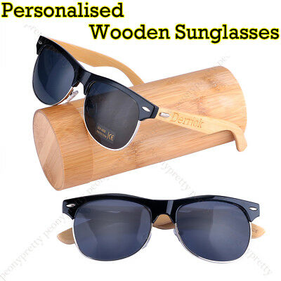 Personalised Custom Bamboo Wooden UV400 Lenses Sunglasses Groomsmen Xmas Gift