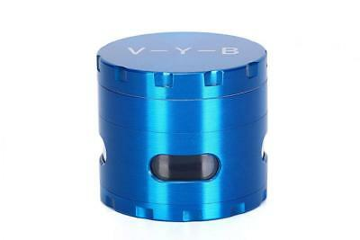 "Large Spice Tobacco Herb Weed Grinder-4 Pcs with Pollen Catcher-2.5"" Gift Blue"
