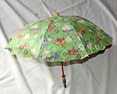 Vintage Child's Animal Fabric Umbrella Parasol  with Asian Figural Wooden Handle