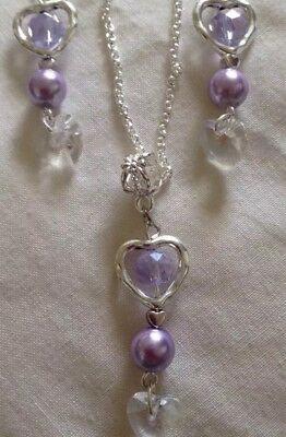 """Sterling Dilver *chain 18""""/Shell Pearl Lilac Pendant Heart&Earings/in A Box ."""