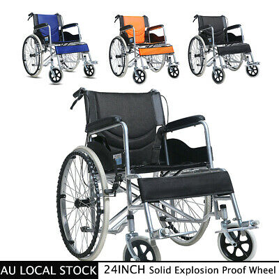 "24"" Folding Wheelchair +Park Brakes Lightweight Soft Mobility Aid Max Load 180kg"