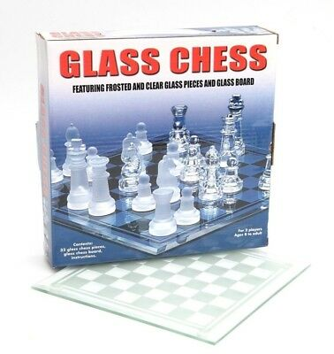 (Medium) - Elegant Glass Chess Set clear & frosted pieces with glass board