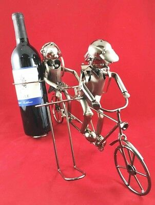 School Children On Tandem Bicycle Hand Made Metal Two Wine Bottle Holder Caddy