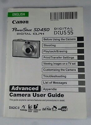 OEM Canon SD450 IXUS 55 Power shot Digital Camera User Guide Instruction Manual