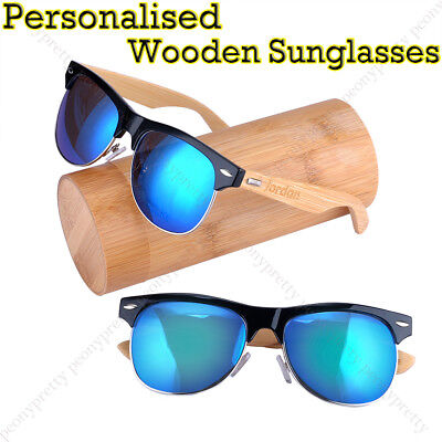 Personalised Custom Bamboo UV400 Mirrored Lens Wooden Sunglasses Groomsmen Gift