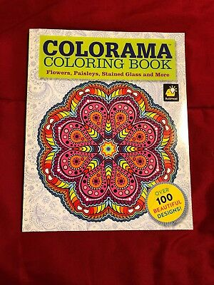 Colorama Adult Coloring Book Flowers Paisleys Stained Glass New No